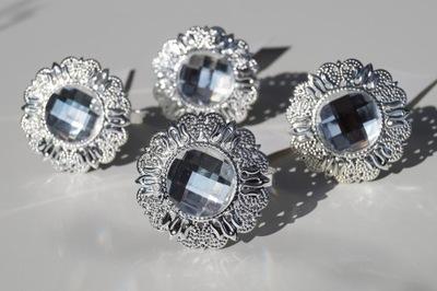 кольцо на салфетки кольцо кристалл серебро 4