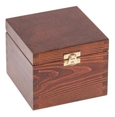 Organizér, kufrík, skrinka - PUDEŁKO 13,5x13,5x10,5 szkatułka DECOUPAGE orzech