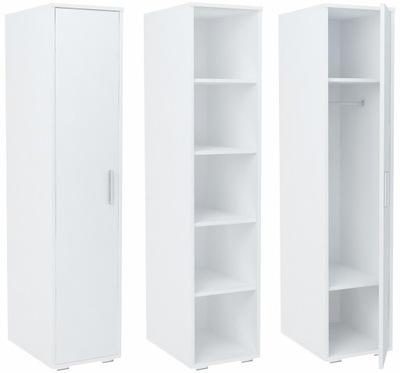 шкаф БОДО 1D4P белая стеллаж с полками и штангой