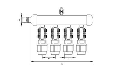 Rozdeľovače pre spodnú časť 5-sekčnej tepelnej pumpy