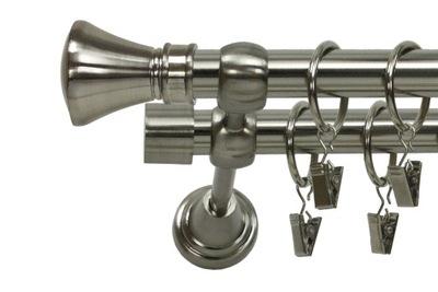 TANIE KARNISZE METALOWE PODWÓJNE 19/19 mm 180 cm