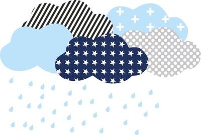 Škandinávske nálepky modré a tmavomodré mraky