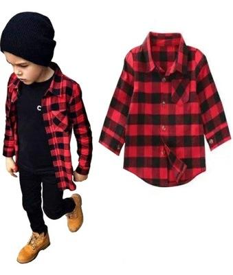 Koszula czerwona krata w kratkę modna 80 86 92 98