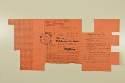 КАРТОЧКА контракта на поставку ОДЕЖДЫ   1944