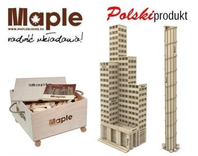 *Drewniane KLOCKI MAPLE 500 szt skrzynia drewniana