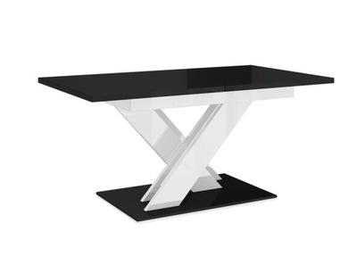стол ?????????? ЧерныйБелый блеск 140-180+