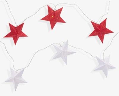 звезды бумажные 10 LED белое /красное таймер АА