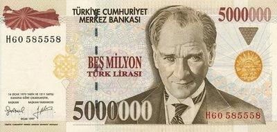 Турция 5000000 Турецкая 1997 P-210 UNC