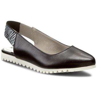 Sandały czarne z piętą skórzane płaskie Karino 39