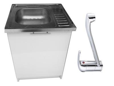 шкаф кухонная 60 белая + раковина + кран + сифон