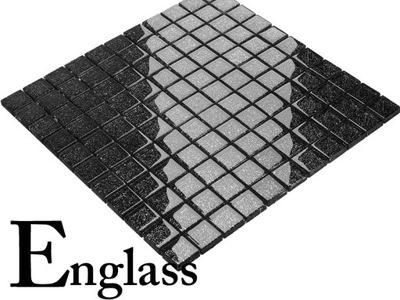 Мозаика стекло черная с серебром парчи