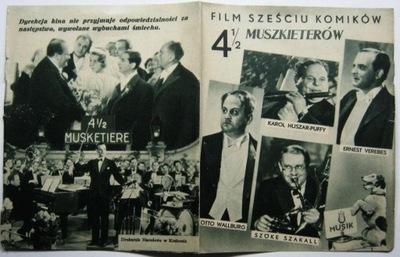 Листовка кинематографический 4 и 1 /2 мушкетеров с 1935 года