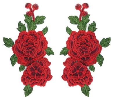 комплект полоса красная роза цветы вышивка - 2шт