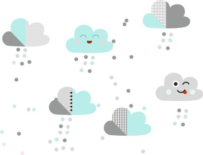Pastelové dekorácie s mätou a sivými polka bodkami