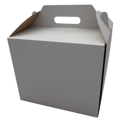 картон коробка ТОРТ Белый С ДЕРЖАТЕЛЕМ 34x34x25cm