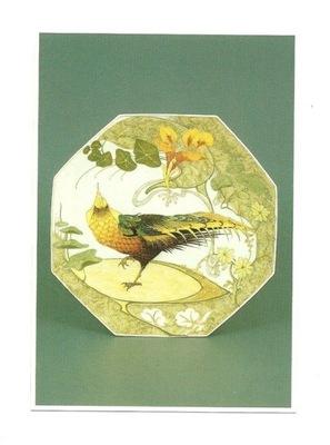 Pocztówka - Secesyjna Porcelana i egzotyczny ptak