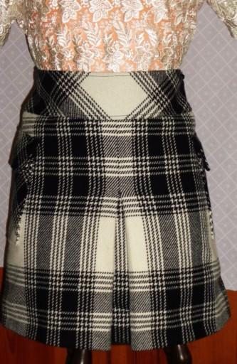 0e147635 MEXX spódnica wełniana czarno białą kratę r.34/36