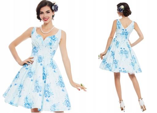 Sukienka wesele pin up retro biała niebieska S 36