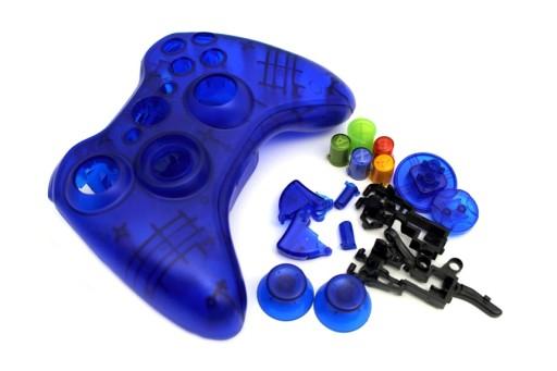 Obudowa pada Xbox 360 z przyciskami NIEB. TRANSP.
