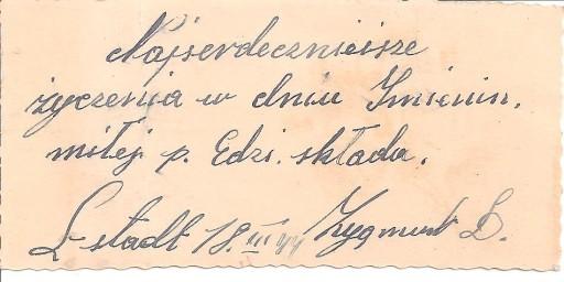 BILECIK Z ŻYCZENIAMI Z 1944 ROKU.