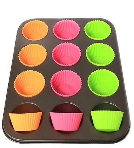 Výsledok vyhľadávania obrázkov pre dopyt Blacha forma do muffinek +12 silikonowych koszyków