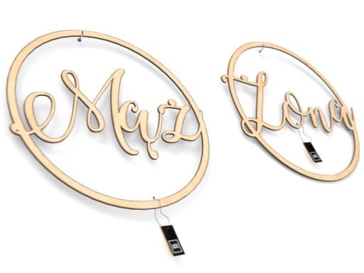 Mąż Żona - Dwa koła typu wianek napisy na wesele