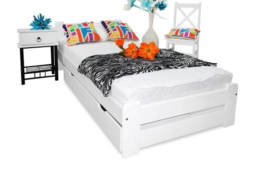 łóżko Drewniane Eureka Białe 90x200 Stelaż Nowość