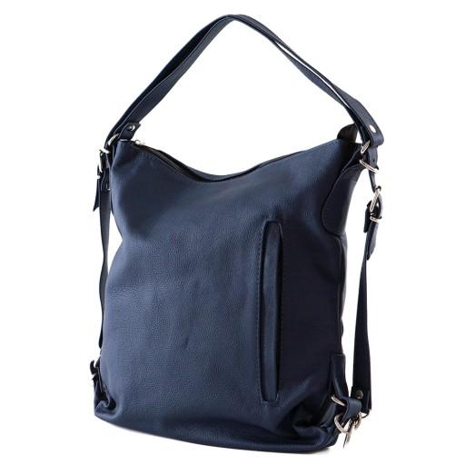 Niebieskie i granatowe torebki damskie ze skóry naturalnej