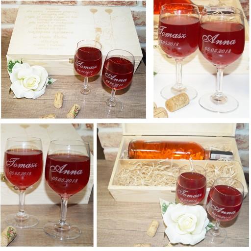 Rewelacyjny Skrzynka wino i kieliszki grawerowane PREZENT ślub 6721048509 NP09