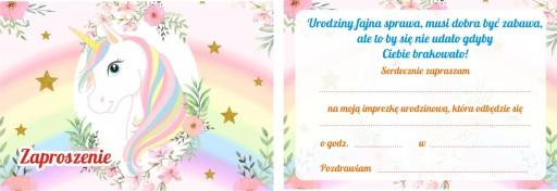 Zaproszenia Urodzinowe Dla Dzieci Jednorożec 7528278414 Allegropl