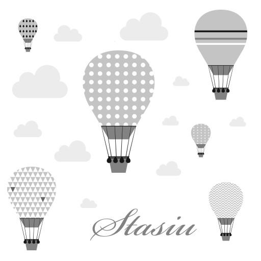 Naklejki balony niebo pastelowe imię chmurki szare
