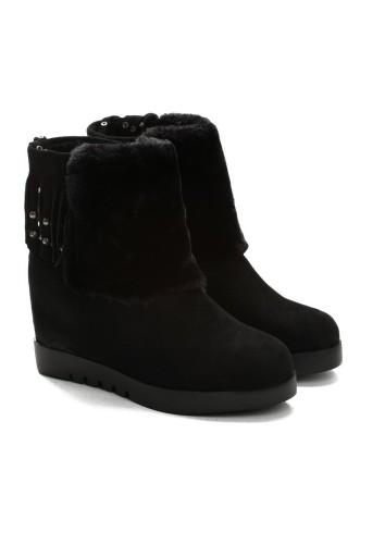 Sneakersy koturn czarne ocieplone BOTKI VICES r37