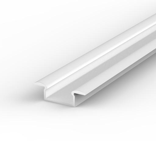 Wpuszczany Aluminiowy PROFIL LED+KLOSZ 1m | Biały