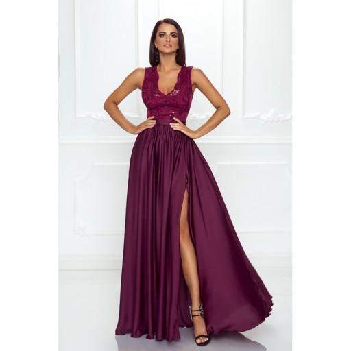 Burgundowa Sukienka Z Koronkową Górą Wesele Xxl 7548133094 Allegropl