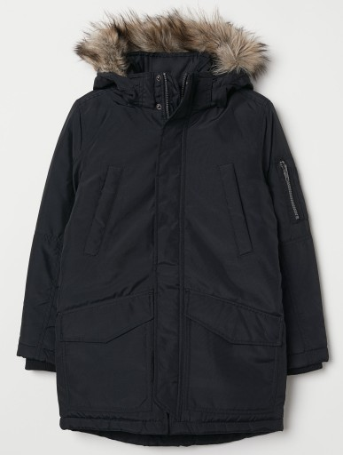 H&M parka dłuższa KURTKA ocieplana R.164 black