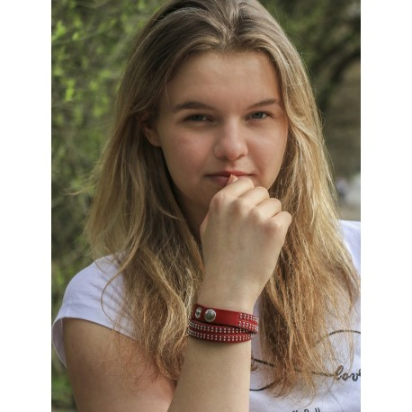 Skórzana bransoletka czerwona srebrna z kolekcji