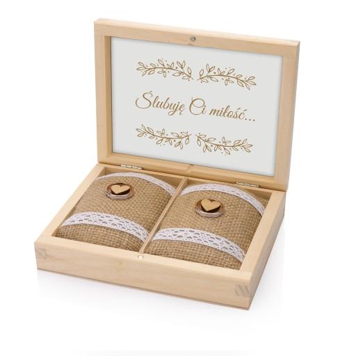 Pudełko drewniane na obrączki ślub GRAWER P7