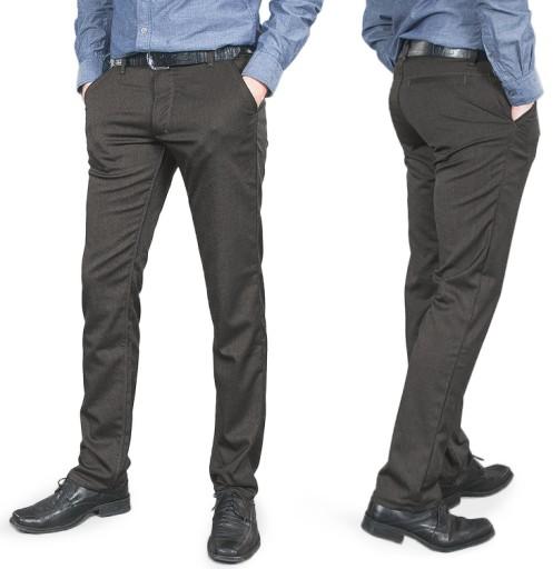 Eleganckie Wizytowe Spodnie Męskie 210/1 106 cm/30