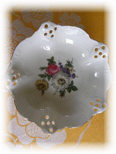 Rosenthal Ażurowa Reliefowa Patera kwiaty 3 stopki