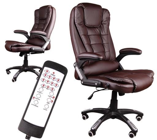 Fotel Z Masażem Brązowy Skórzany Biurowy Nowy
