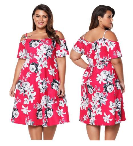 63092be482 Sukienka letnia 61964 w kwiaty DUZE ROZMIARY 48 7674164861 - Allegro.pl