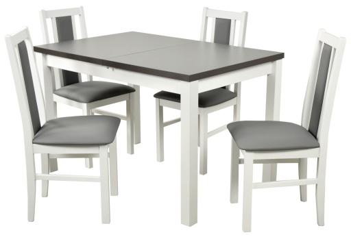 Biało Szary Zestaw Stół 4 Krzesła Do Kuchni
