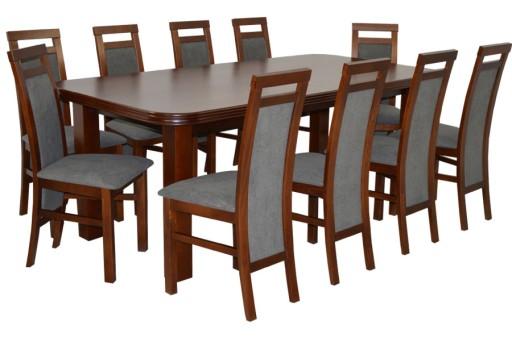 Duży Zestaw Do Salonu Drewniany Stół I 10 Krzeseł 7131684413