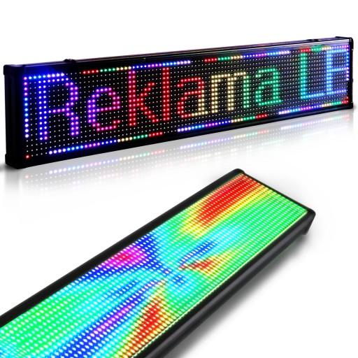 Nietypowy Okaz Tablica Reklama Świetlna LED RGB Panel 100x20cm 7424369529 JH45