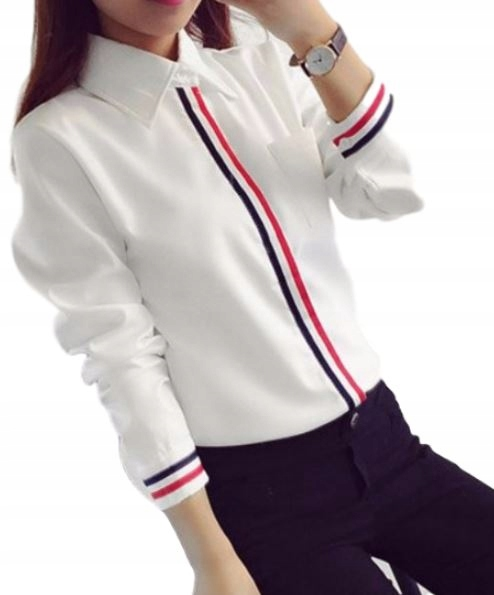 Women's white shirt for youth school stripes M 9664445560 Odzież Damska Topy IR QRGWIR-8