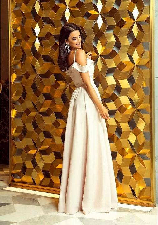 Kejla ECRU SUKIENKA z odkrytymi ramionami XL 9321827060 Odzież Damska Sukienki wieczorowe SO ZPFQSO-1