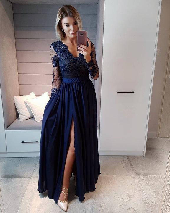 Lula SZARO SREBRNA SUKIENKA z KORONKOWĄ GÓRĄ XL 9329751066 Odzież Damska Sukienki wieczorowe GK HITHGK-1
